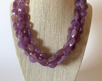 Purple Orchid Chunky Statement Necklace