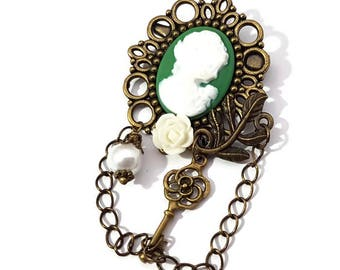 Lady Cameo Brooch- Green Cameo Pin-Antique Brass-Victorian Regency-EGL Fashion-Fashion Jewelry-Everyday Chic-Gift for Her-Mothers Day Gift