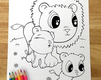 Cute Lions! Downloadable PDF file!