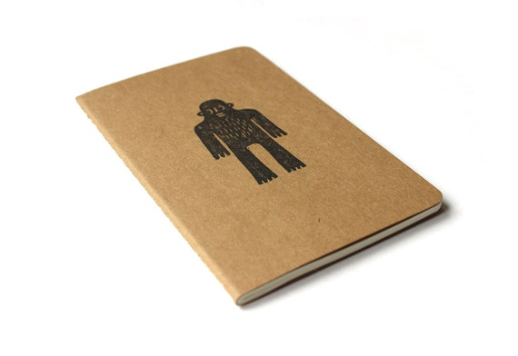 Moleskine notebook Sweet Yeti - Handstamped with Bigfoot / Sasquatch character illustration - black - A6 / small - plain, ruled or squared