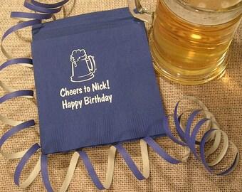 Beer Birthday napkins mens birthday napkins wine napkins Set of 50 adult birthday napkins personalized napkins beverage and luncheon napkins