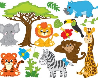 on sale sale safari jungle animals cute digital clipart rh etsy com safari animal clipart images safari animal clipart images