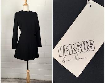 Vintage 90s Dress, Versus Versace, 90s Mini Dress, 90s Black Dress, Black Mini Dress, Black Wool Dress, New with Tags, B34, 90s Minimalist