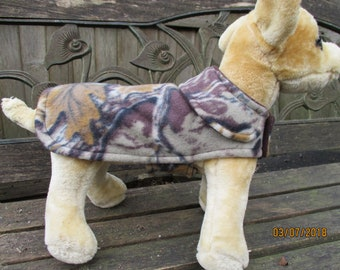 Dog Jacket- Fleece Camoflage Coat- Size XX Small 8 to 10 Inch Back Length - Or Custom Size