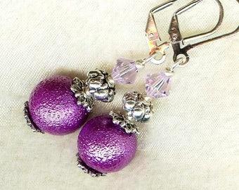 Frosted purple Pearl ✿cristal OR238 ✿lavande earrings