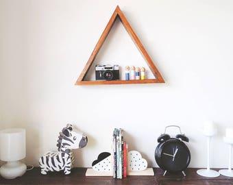 Single triangle shelf -  Wood shelf  Nursery decor Geometric shelf Minimalist triangle shelf Pallet wood art Reclaimed wood Timber shelf