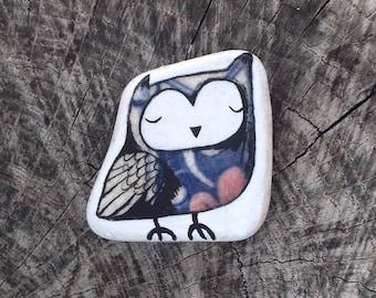Blue Beach Pottery Owl