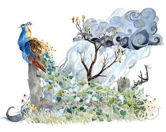 Summer Plumage -giclee PRINT of original watercolor painting -