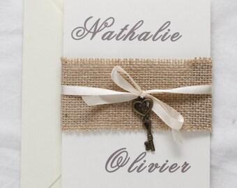 key to happiness vintage wedding invitation