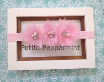 Pink Baby Headband, Pink Baby Hair Bow, Baby Flower Headband, Baby Girl Headband, Infant Headband, Toddler Headband