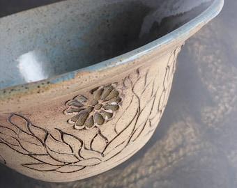 Pottery ceramic porcelain handmade serving bowl dish stoneware etched flower design housewarming gift for her anniversary vintage plant