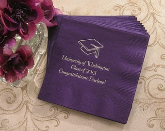 Graduation napkins personalized graduation napkins class reunion napkins Set of 50 graduation party napkins beverage and luncheon sizes
