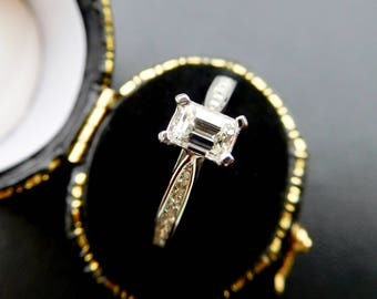 18ct white gold & emerald cut diamond engagement ring, classic emerald cut diamond solitaire, emerald cut diamond with diamond set shoulders