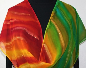 Red Yellow Green Chiffon Silk Shawl Hand Painted SHINING RAINBOW, in Several SIZES, Anniversary Gift, Birthday Gift. Silk Scarves Colorado