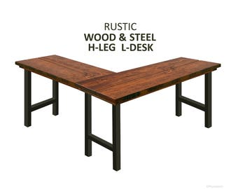 attractive furniture regard rustic with desk to wood home l shaped decoration