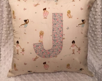 Personalised cushion - Belle & Boo ballet fabric.