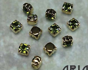 OLIVINE: Swarovski SS29 6.5mm 17704 Xilion Gold Plated Two Hole Sew-On Slider Bead Component (12)