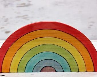 Wooden rainbow toy, Rainbow pyramid, Rainbow figurine, Waldorf RAINBOW Stacker, Rainbow puzzle stacker, Wooden toys, Montessori toys, Eco