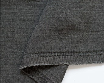 "Charcoal Wrinkled Cotton Double Gauze, Crinkle Gauze, Yoryu Gauze, Charcoal Color Gauze - 59"" Wide - By the Yard 95371"