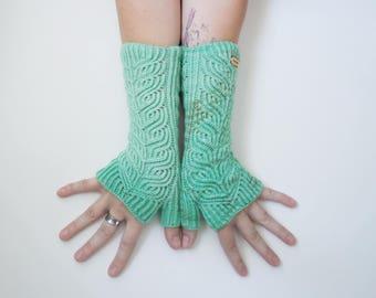 Mint Julep Petal Mitts ~ Knit Fingerless gloves, Fingerless glove mittens, Long knit gloves, Boho knit glove mittens