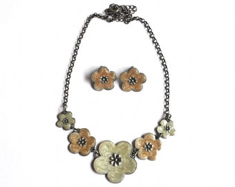 Enamel Flower Jewelry Set - Vintage Necklace, Vintage Stud Earrings, Floral Jewelry