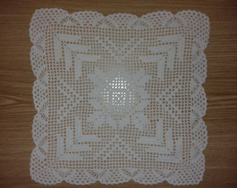 1990's Vintage Tablecloth White Cotton Handknitted handicrafts
