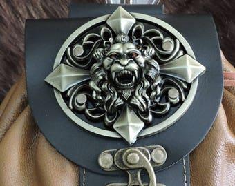 In Stock Large Economy Sporran Design Leather Belt Bag / Pouch Medieval, Bushcraft, Costume, Ren Faire, Black and Dessert Tan