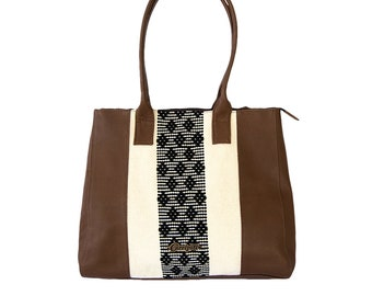 Leather Shoulder Bag with Handwoven and Brocade Insert. Geometric, Mexican-inspired Design.