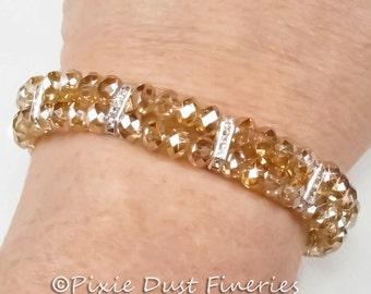 Crystal Bridal Bracelet, Champagne Swarovski Crystal Two Strand Bridal Bracelet, Wedding Bracelet, Wedding Jewelry - Aveta WB0110