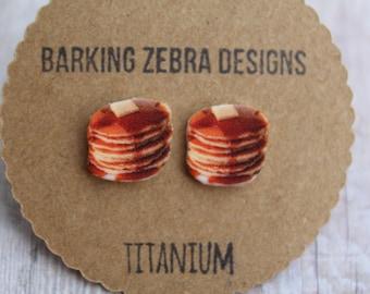 Pancake Earrings   Pancake Studs   Food Earrings   Pancake Jewelry   Titanium   Hypoallergenic   Nickel Free   Food Studs   Food Jewelry