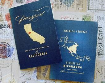 Passport Wedding Program - Vintage Travel 2 Panel Folded Wedding Ceremony Program for Destination Wedding  or Wedding / Baby Shower Invite