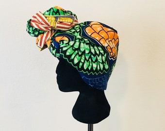 Head Wrap - African - Reversible - Kop Wrap - red/yellow leaves
