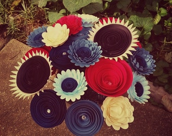 Paper Flower Bouquet - Large Assorted Red, Blue, Light Yellow Flowers - Handmade Paper Flowers for Brides, Weddings, Showers, Birthdays