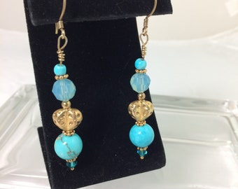 Swarovski crystal bead and turquoise earrings, pierced, gold filled findings