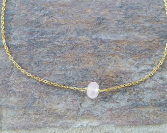 Dainty Rose Quartz Choker Necklace, Dainty Rose Quartz Necklace, January Birthstone Necklace, Birthstone Gold Silver
