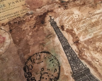 One of a Kind 'Coffee in Paris' Mixed Media Art on canvas - antique style decoupage art paris wall art - mixed media art