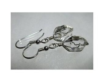 """ww1277 - 1/2""""+ Wirewrap HERKIMER DIAMOND EARRINGS - Argentium Sterling Silver"""