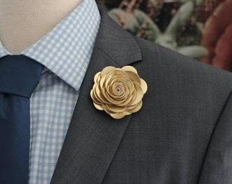 Big Gold flower lapel pin, gold wedding Boutonniere,big gold Lapel Flower pin, boutonniere, flower lapel pin, mens gift, hindi wedding