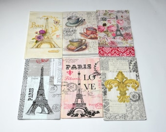 6 Paris Paper Napkins for Decoupage, Mixed Media, Collage, Scrapbooking, Mix Eiffel Tower Decoupage Paper, French Style Decoupage Paper