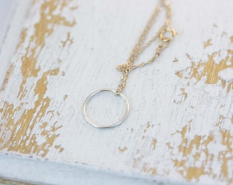 Circle Necklace, Mixed Metal Necklace, Gold Filled Necklace, Sterling Silver Necklace, Delicate Necklace, Round Necklace, Delicate Circle