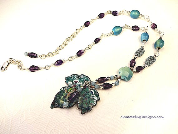 Artisan Enamel Leaf, Amethyst, Amazonite and Ceramic Necklace