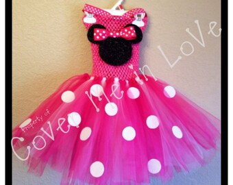 Minnie Mouse tutu dress costume one sz 9mo to 7