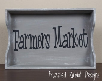 Painted Wood Farmers Market Tray