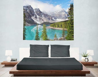 Mountain Tapestry Wall Hanging, Lake Tapestry Bedroom, Mountain Tapestry Room, Tapestry, Lake Tapestries