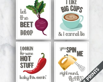 Beet Drop, Big Cups, Hot Stuff, Spin Me (Funny Kitchen Song Series) Set of 4 Art Prints (Featured in 30 - White) Kitchen Art