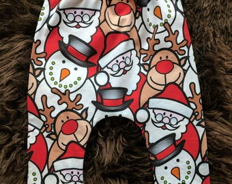 Kids Childrens Christmas Santa Harem Pants Newborn to Age 4