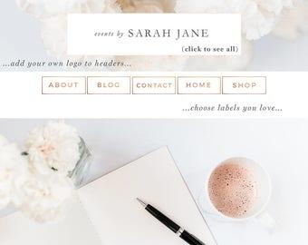Website Branding Kit, Floral Pink Peach Rose Gold Theme, Blogger Design, Wordpress Blog Header, Social Media Icon, Buttons, Labels, Borders