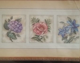 Dimensions Counted Cross Stitch Kit Floral Beauty Trio Craft  kit 35033, Karen Avery multi lingual instructions, hydrangea, poppy,clematis,