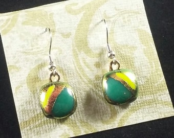 Dichroic Copper, Teal & Yellow Fused Glass Earrings. Glass Fusion Jewelry.