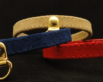 """All suede leather cat collar with charm holder in center--3/8"""" width--breakaway safety buckle-pick color of your cat collars--Ruggit Collars"""
